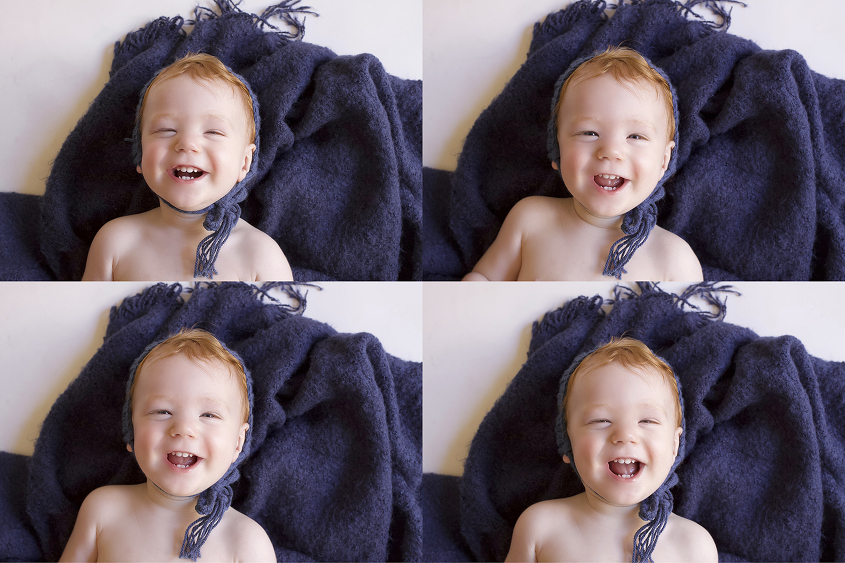 Four images of one year old boy laying on blue blanket with blue knit bonnet smiling up at camera