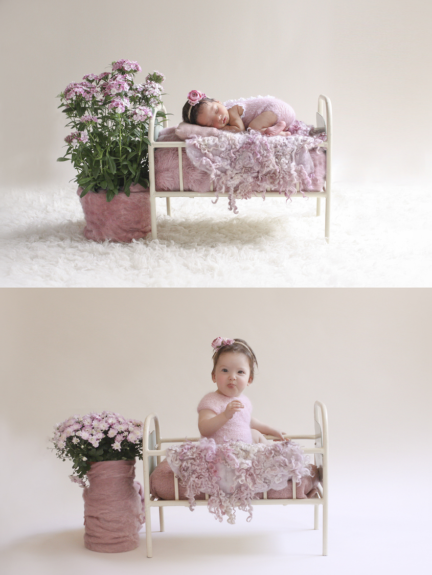 Newborn baby girl sleeping in cream iron bed with pink and purple wraps and felts wearing pink knit romper and tieback with pink potted flowers on cream fur and same set up with toddler girl