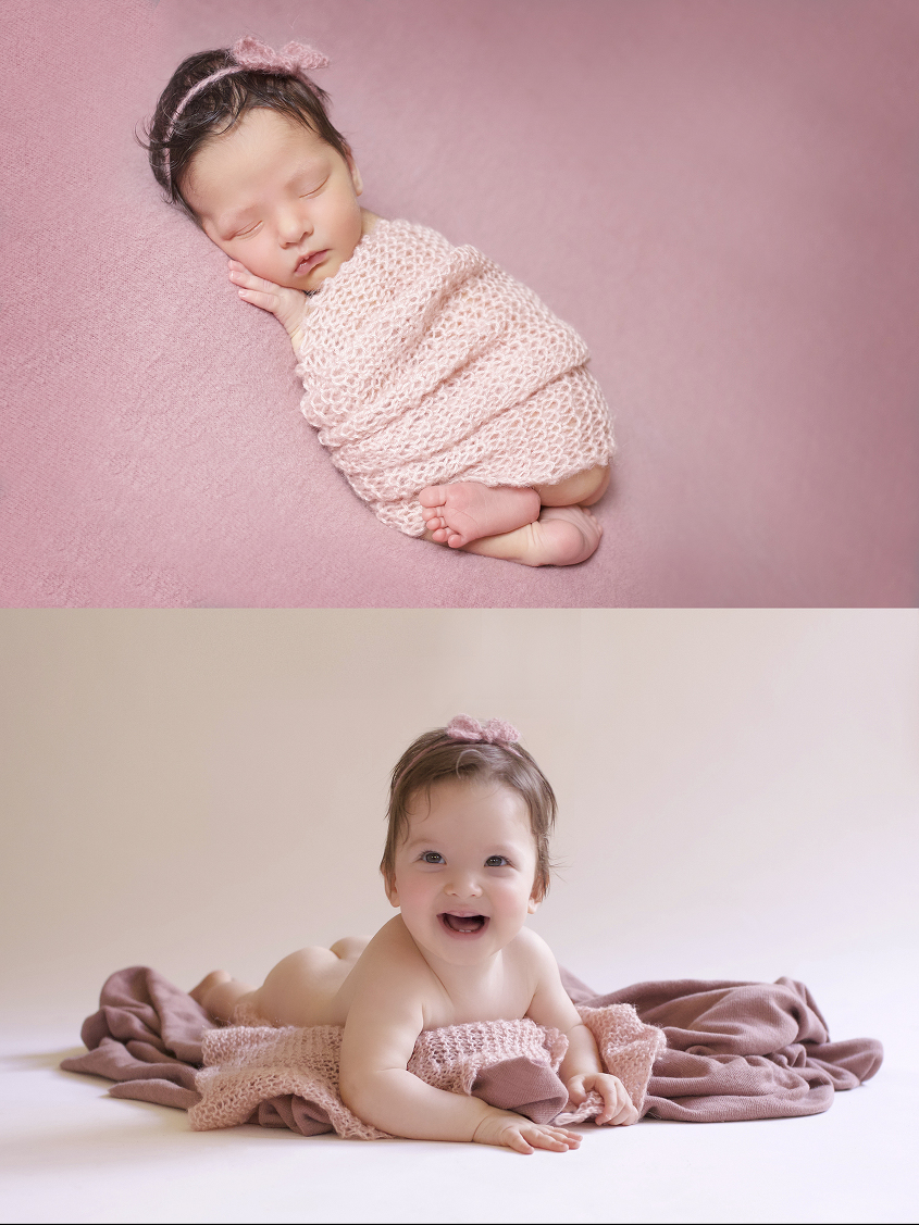 Newborn baby girl sleeping on pink blanker with pink knit wrap and bow tieback and same set up as toddler girl
