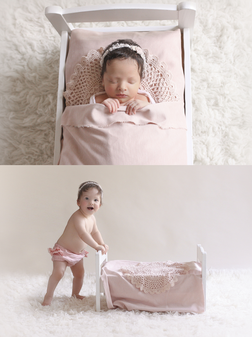 Newborn baby girl sleeping in white wooden bed with dusty pink blanket and lace doily on white fur with pink and white tieback and same set up as a toddler girl