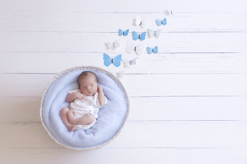 Newborn baby boy sleeping in white cane basket with blue felt wearing white vintage romper on white wooden floor with blue and white butterflies