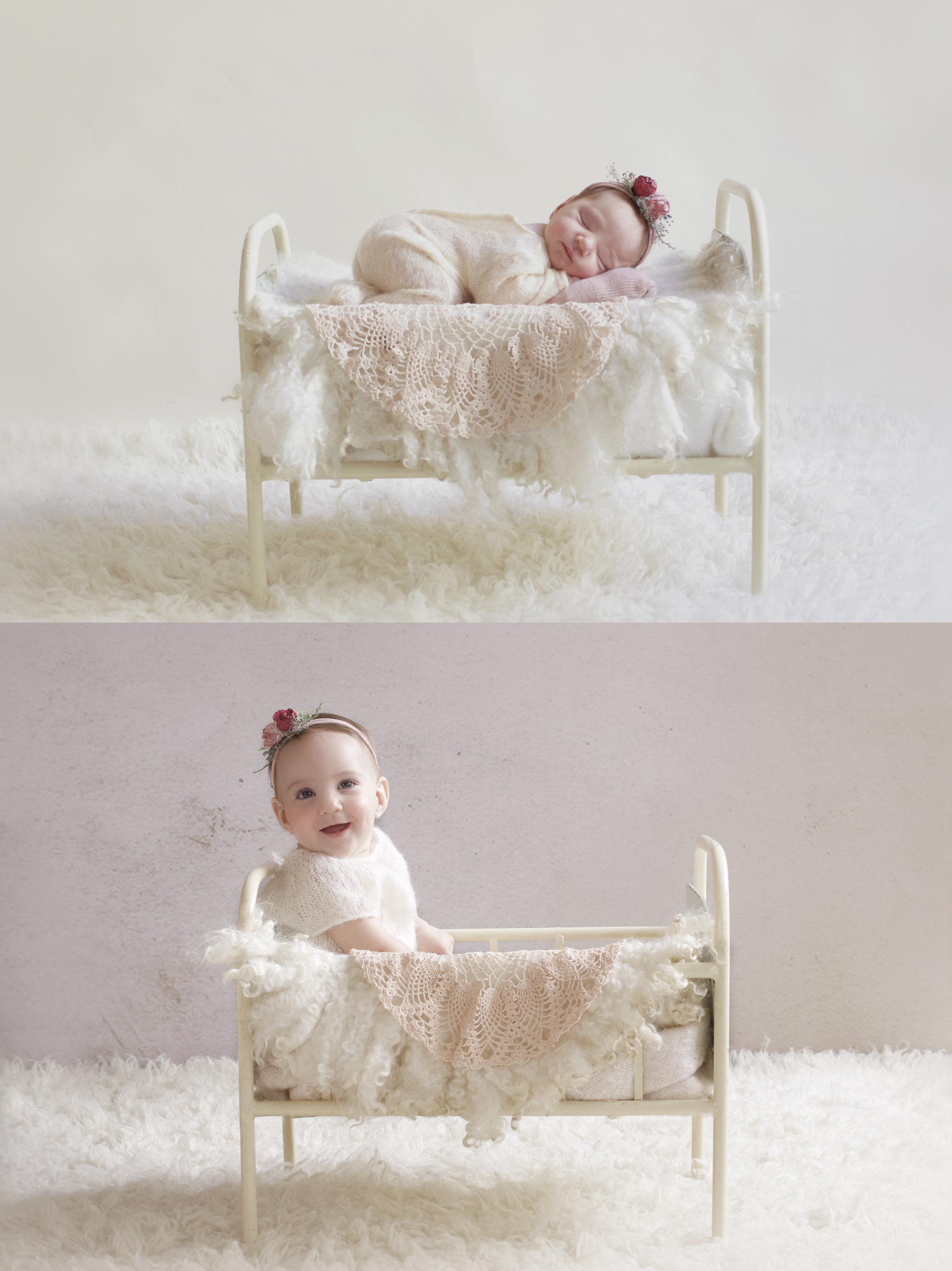 Newborn baby girl in cream romper with pink flower tieback sleeping in cream vintage iron bed with cream curly felt and dusty pink vintage doily on cream fur and same set up with baby girl at 7 months