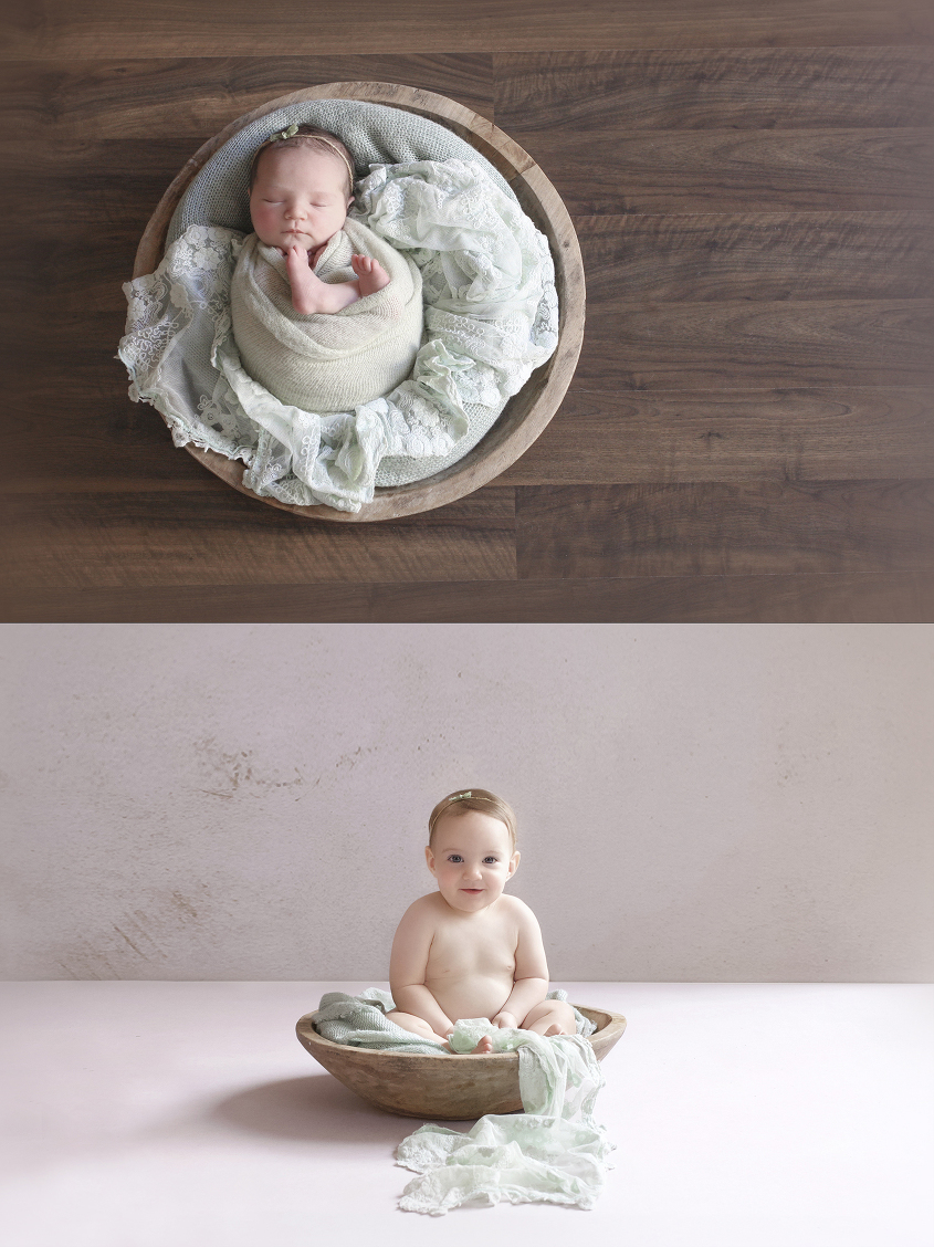 Newborn baby girl sleeping in round wooden bowl with mint green wrap and lace blanket and tieback and felt heart and same set up with baby girl at 7 months