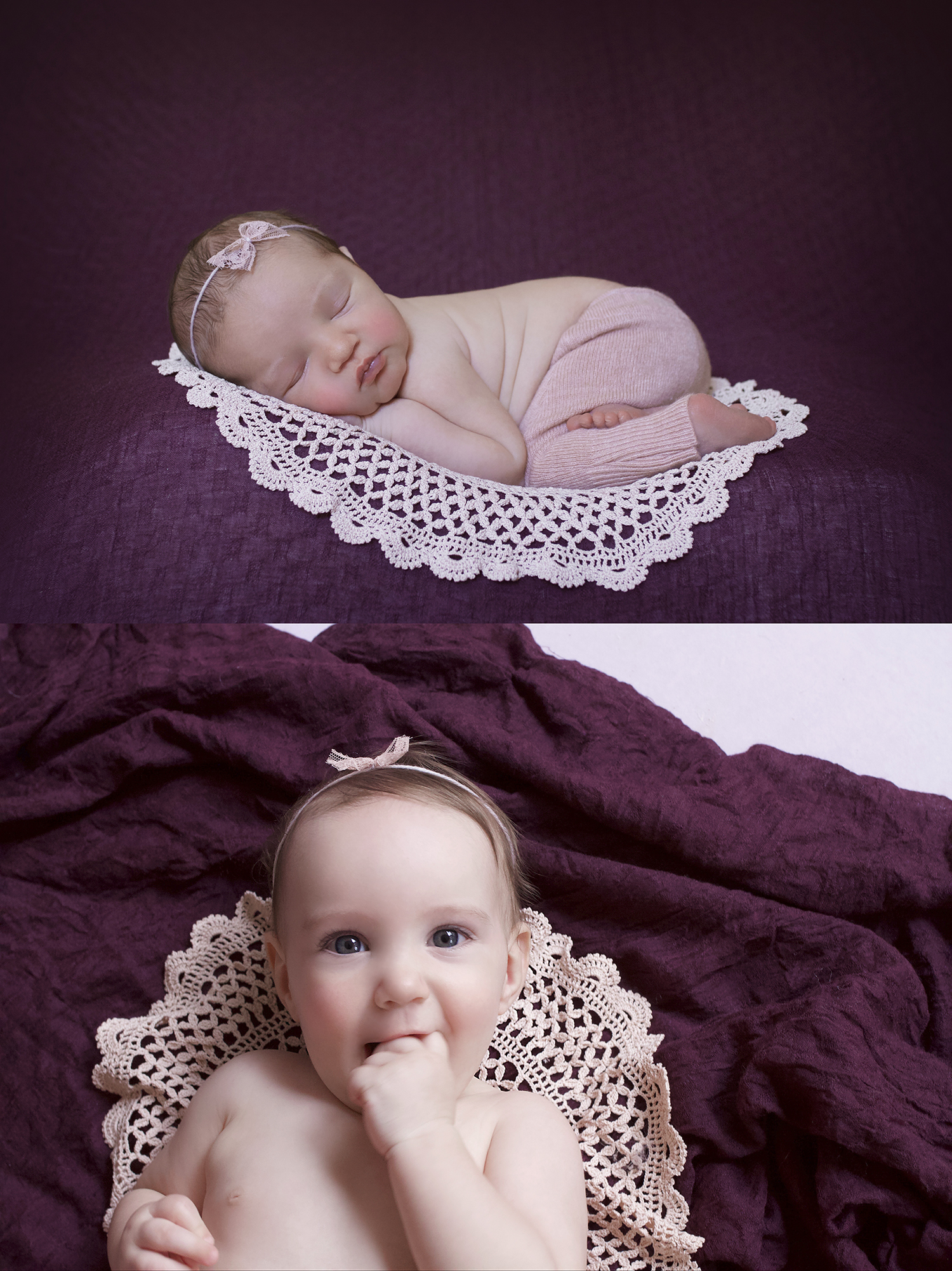 Newborn baby girl sleeping on plum blanket with dusty pink lace doily and pants and tieback and same set up with 7 month old baby girl