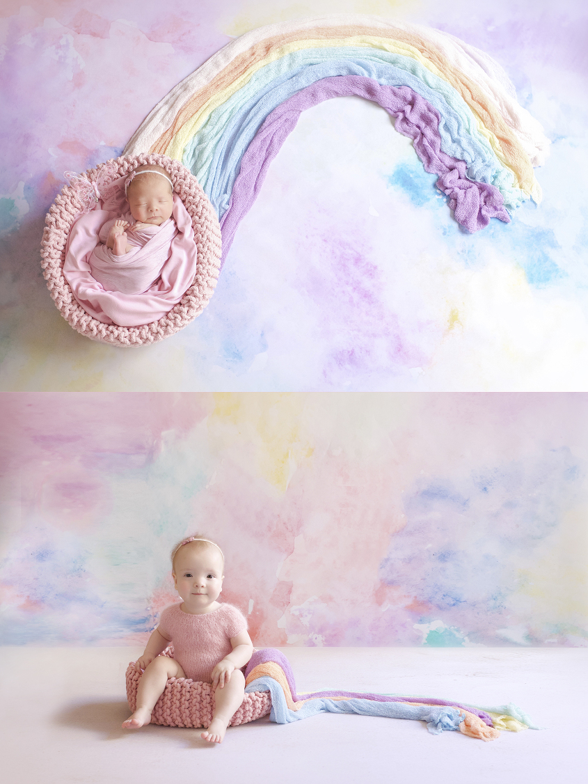 Newborn baby girl sleeping in pink crochet basket with pink wrap and tieback in rainbow backdrop and same set up as one year old