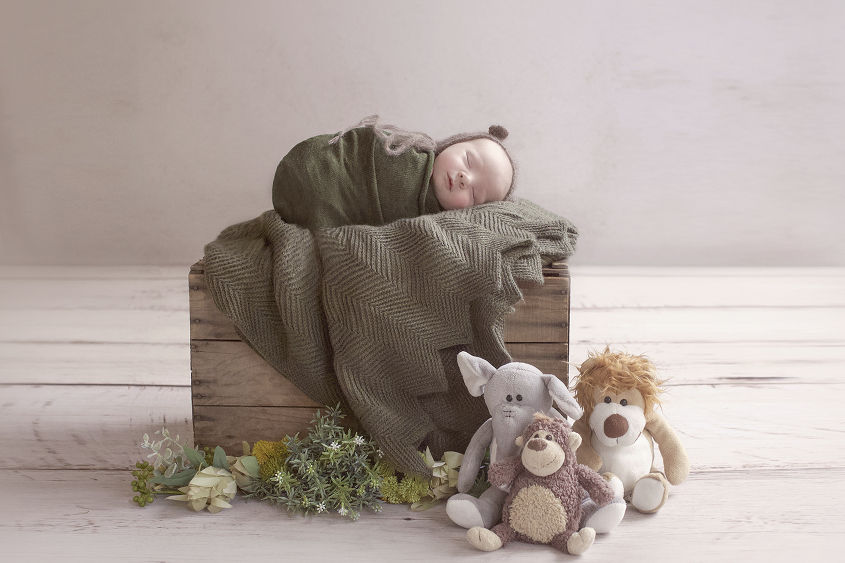 Newborn baby boy sleeping on wooden crate wrapped in green wrap with brown bear bonnet with green blanket and leaves and toy animals