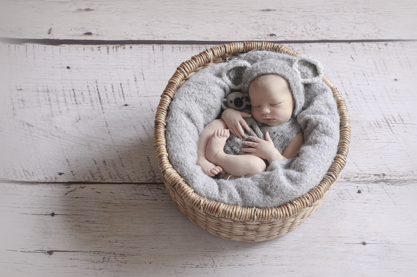 Newborn baby boy sleeping in round cane basket with grey blanket and grey knit koala outfit and soft toy on white wooden floor
