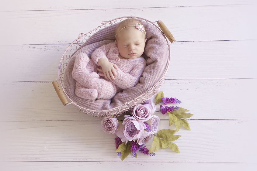 Newborn baby girl in pink farmers basket with purple blanket wearing pink knit romper and tieback with flowers on white wooden floor
