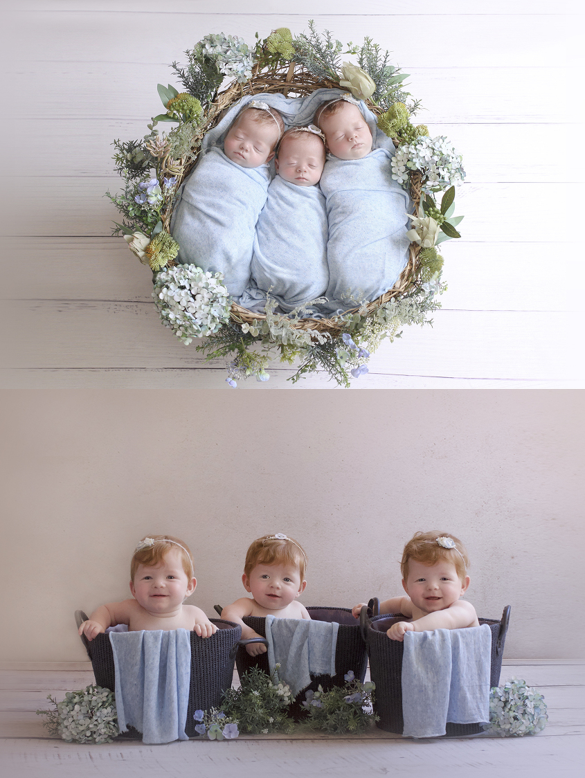 Newborn triplet girls wrapped in blue blankets in a blue floral nest on white wooden floor wearing blue flower tiebacks and same set up with 9 month old girls