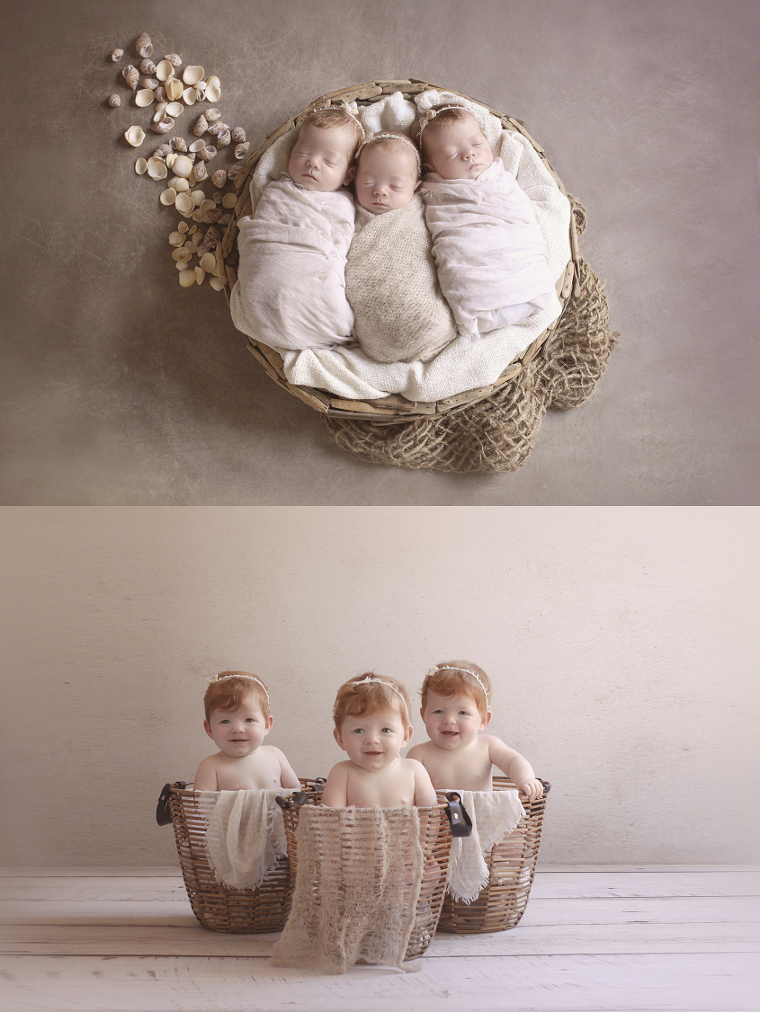 Newborn triplet girls sleeping in round wooden bowl with cream blanket and wraps with hessian layer and shells on brown backdrop and same set up with 9 month old girls
