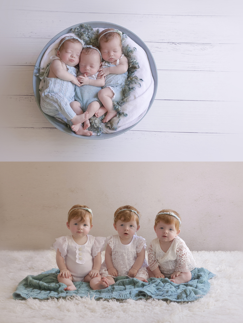 Newborn triplet girls dressed in teal rompers laying in round teal bowl with cream blanket and teal curly felt layer on white wooden floor and same set up as 9 month girls