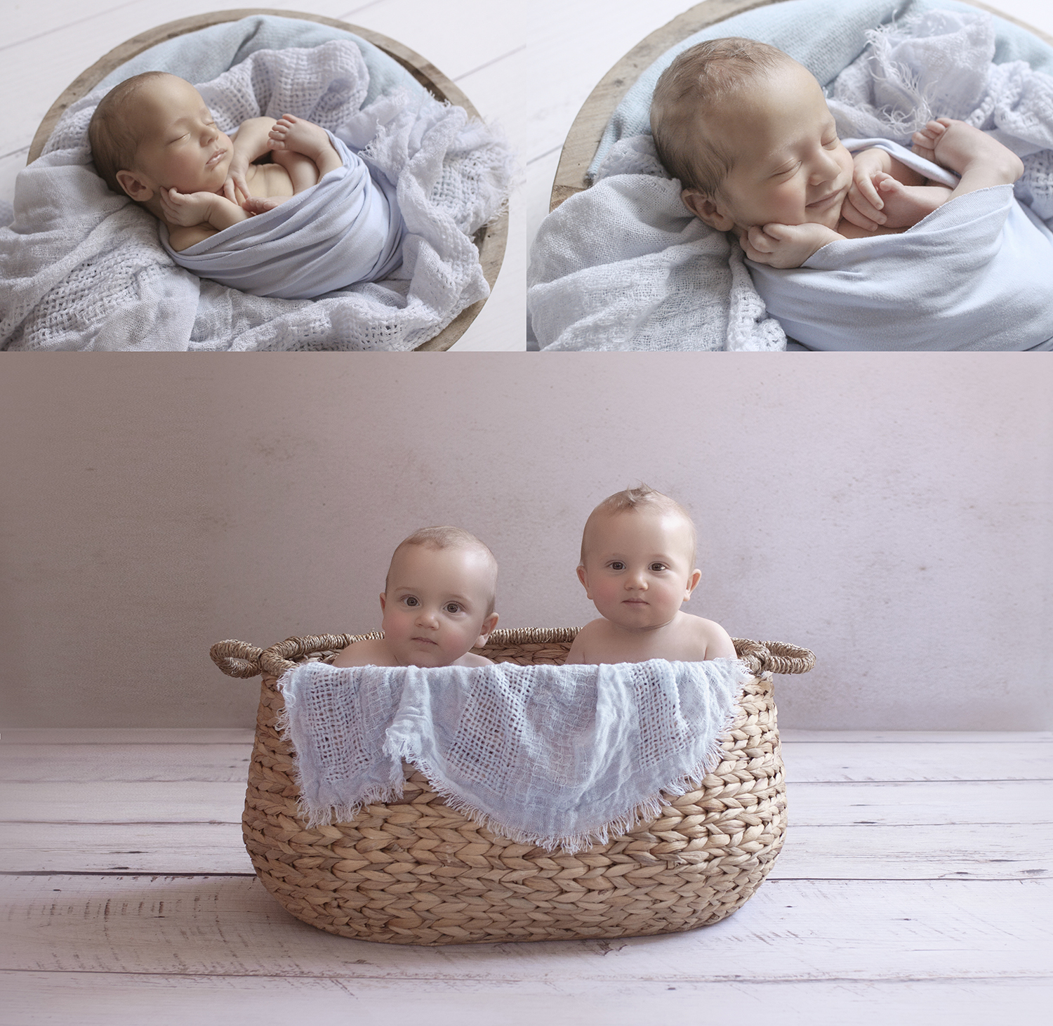 Newborn twin boys wrapped in baby blue blanket in wooden bowl on white wooden floor with blue blanket and same set up with 8 month old boys