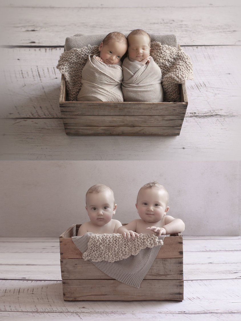 Newborn twin boys sleeping in wooden crate wrapped in tan wraps with tan blanket and tan knitting layer on white wooden floor and same set up as 8 month old baby boys