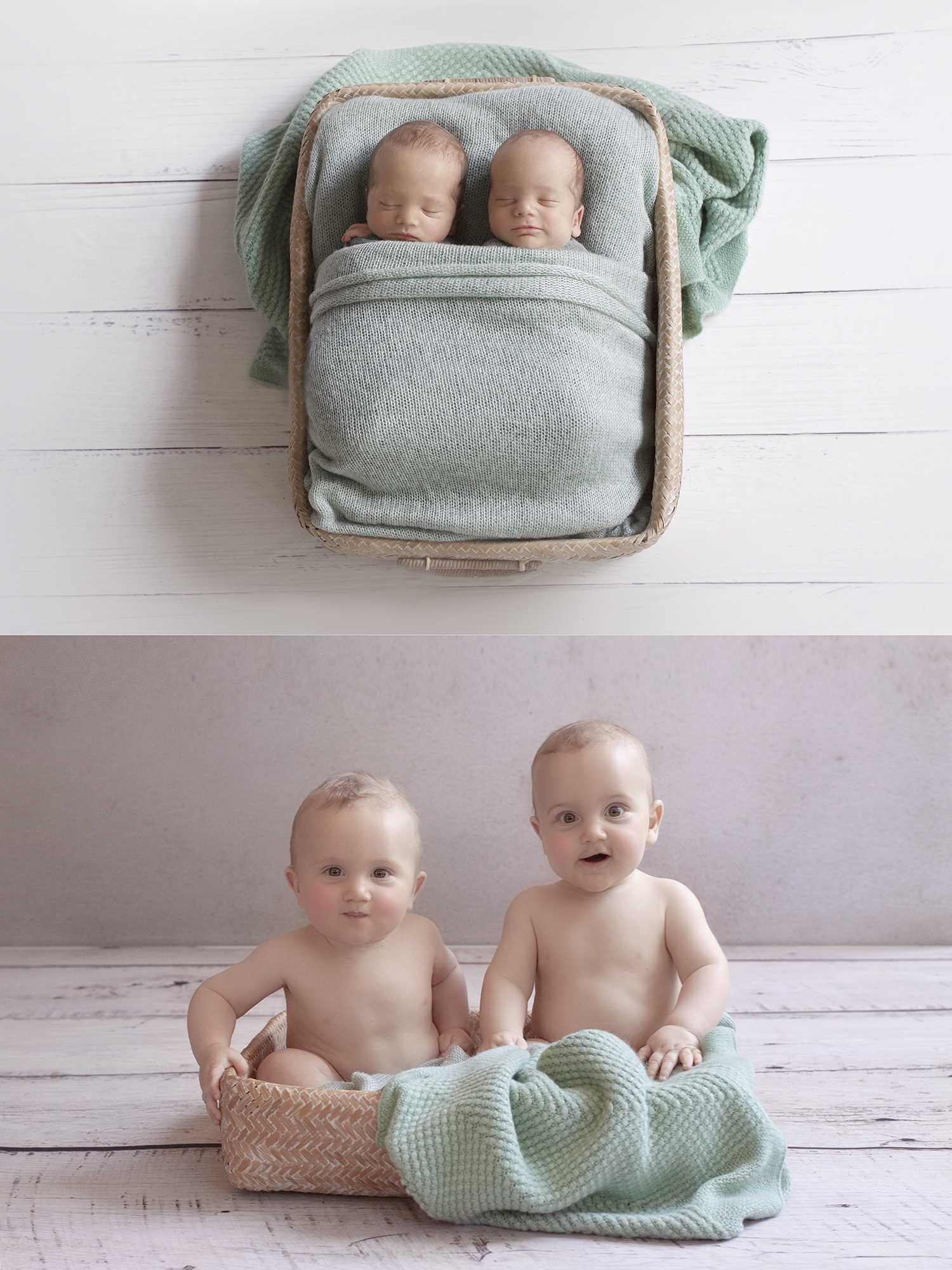 Newborn twin boys sleeping in cane rectangle basket with mint blanket and wrap on white wooden floor and same set up as 8 month old boys