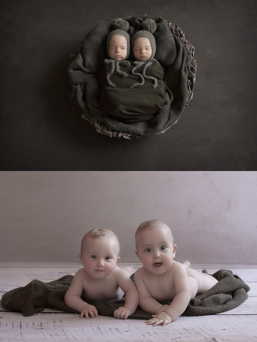 Newborn twin boys sleeping in round basket with olive blanket and wrap and bonnet on olive backdrop and same set up as 8 month old baby boys