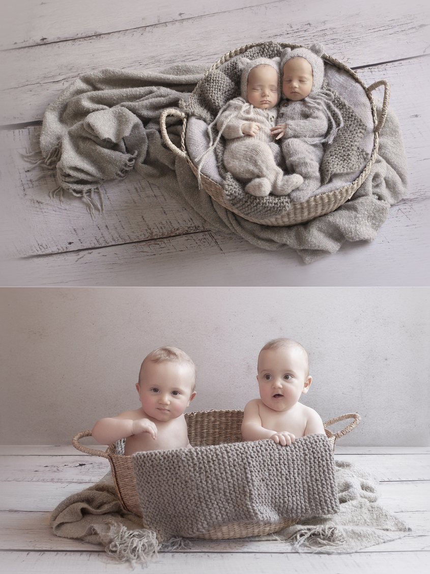 Newborn twin boys sleeping in cane basket with cream grey and tan blankets and wraps on white wooden floor wearing knit rompers and bear bonnets and same set up as 8 month old boys