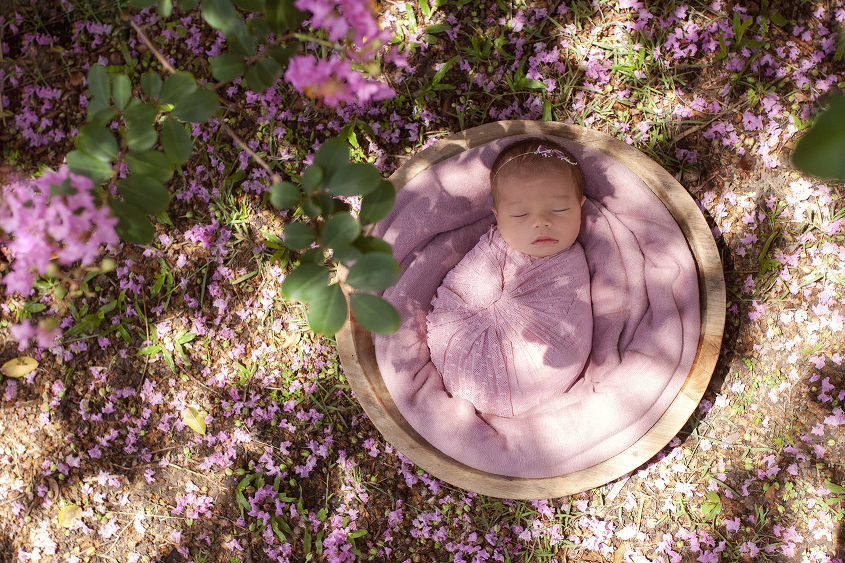 Newborn baby girl sleeping in round wooden bowl with pink blanket and wrap and bow tieback laying garden surrounded by flowers