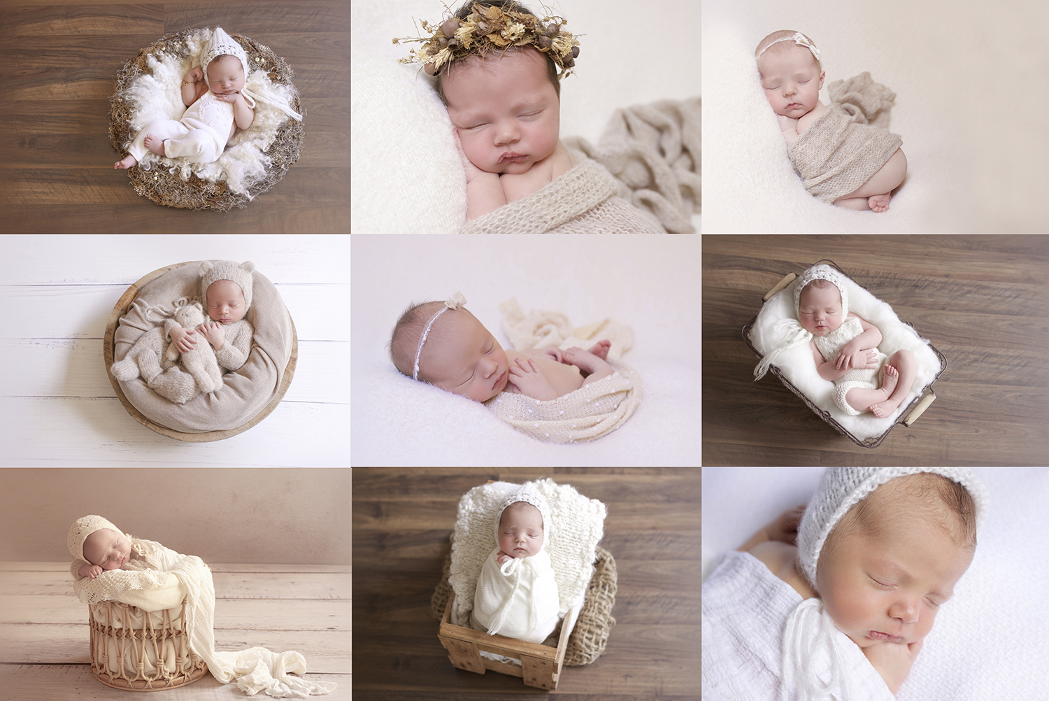 Collection of newborn babies in neutral colour palettes