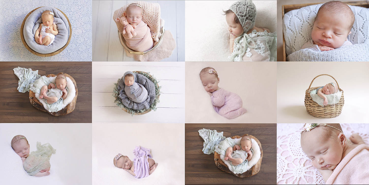 Newborn babies in pastel colours