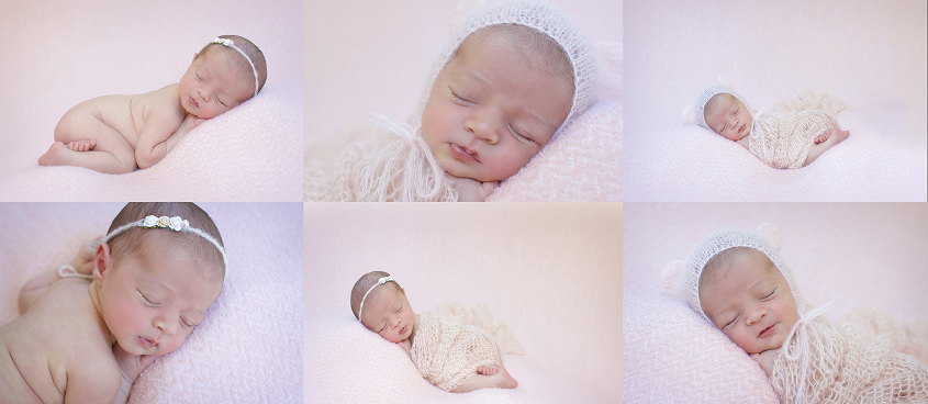 Newborn baby girl sleeping on pink blanket with pink knit wrap and flower tieback and bonnet