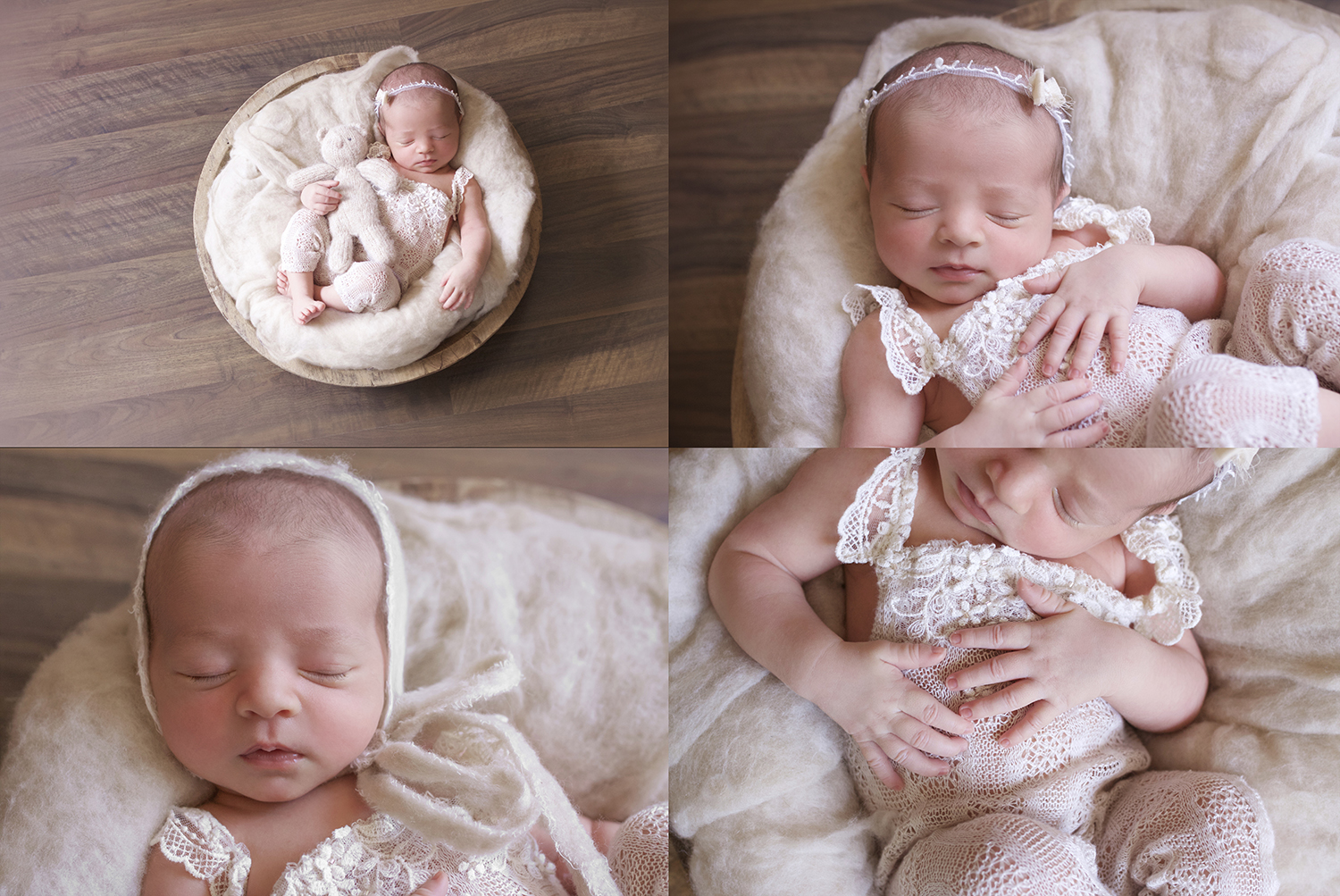 Newborn baby girl sleeping in round wooden bowl wearing cream lace romper with cream fur and bonnet and bear on wooden floor