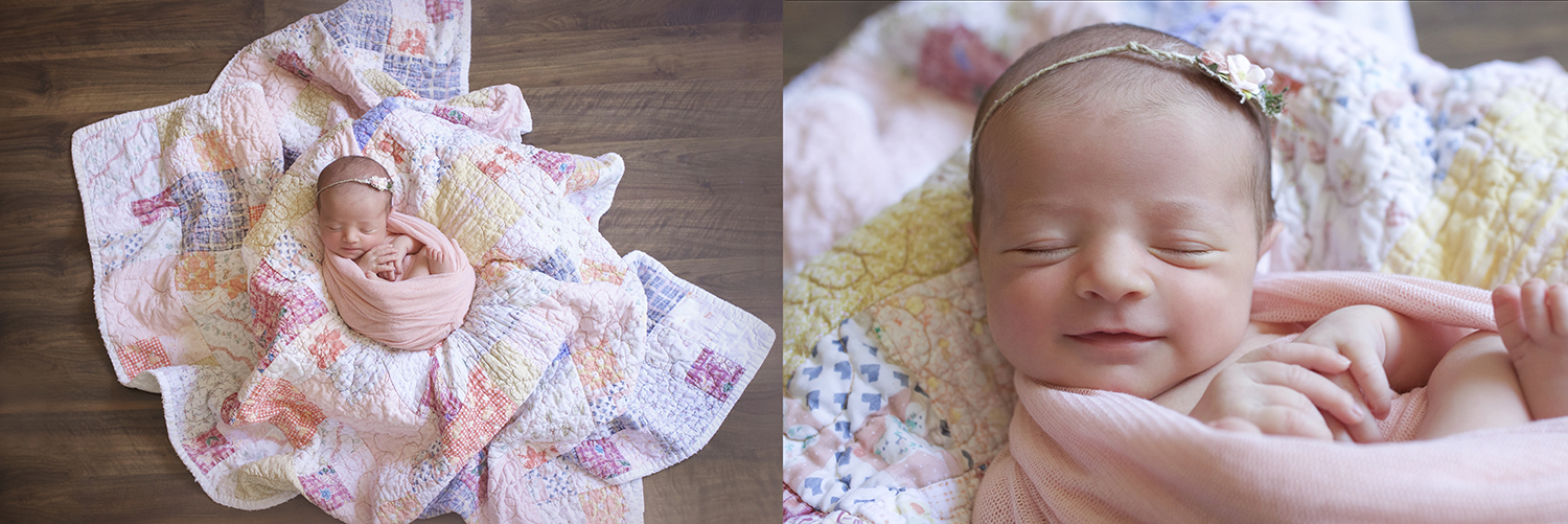 Newborn baby girl sleeping wrapped in pink wrap on patchwork quilt