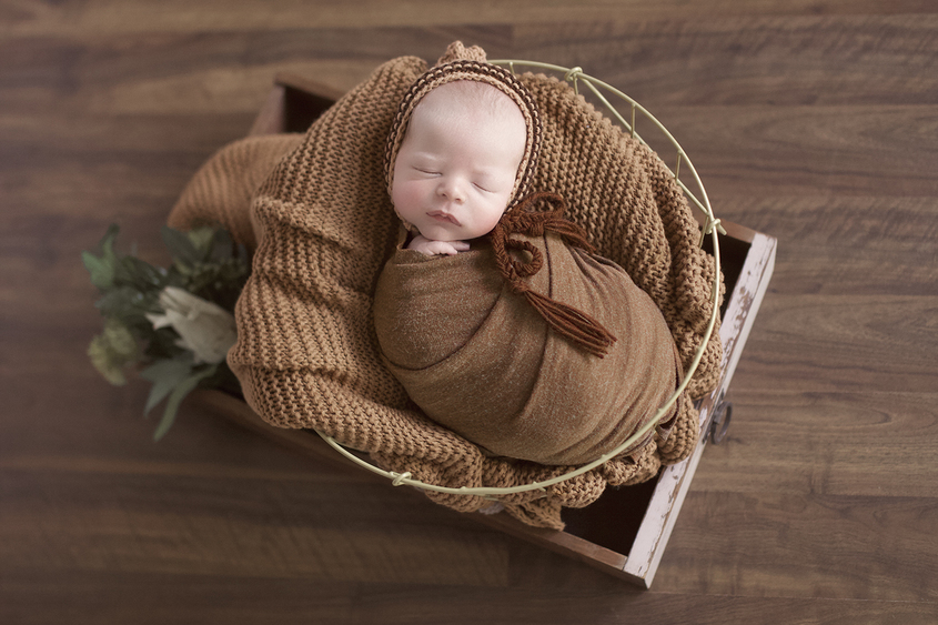 Newborn baby boy sleeping in round wire basket sitting inside a drawer with brown wrap and blanket and bonnet and green folliage on wooden floor