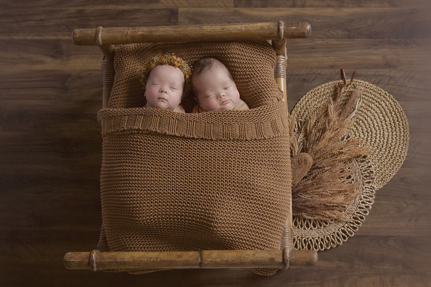 Newborn boy and girl twins sleeping in wooden bed with rust brown blanket and hessian layers and dried folliage with girl wearing flower crown on wooden floor